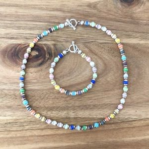 925 and Glass Bead Necklace and Bracelet Set